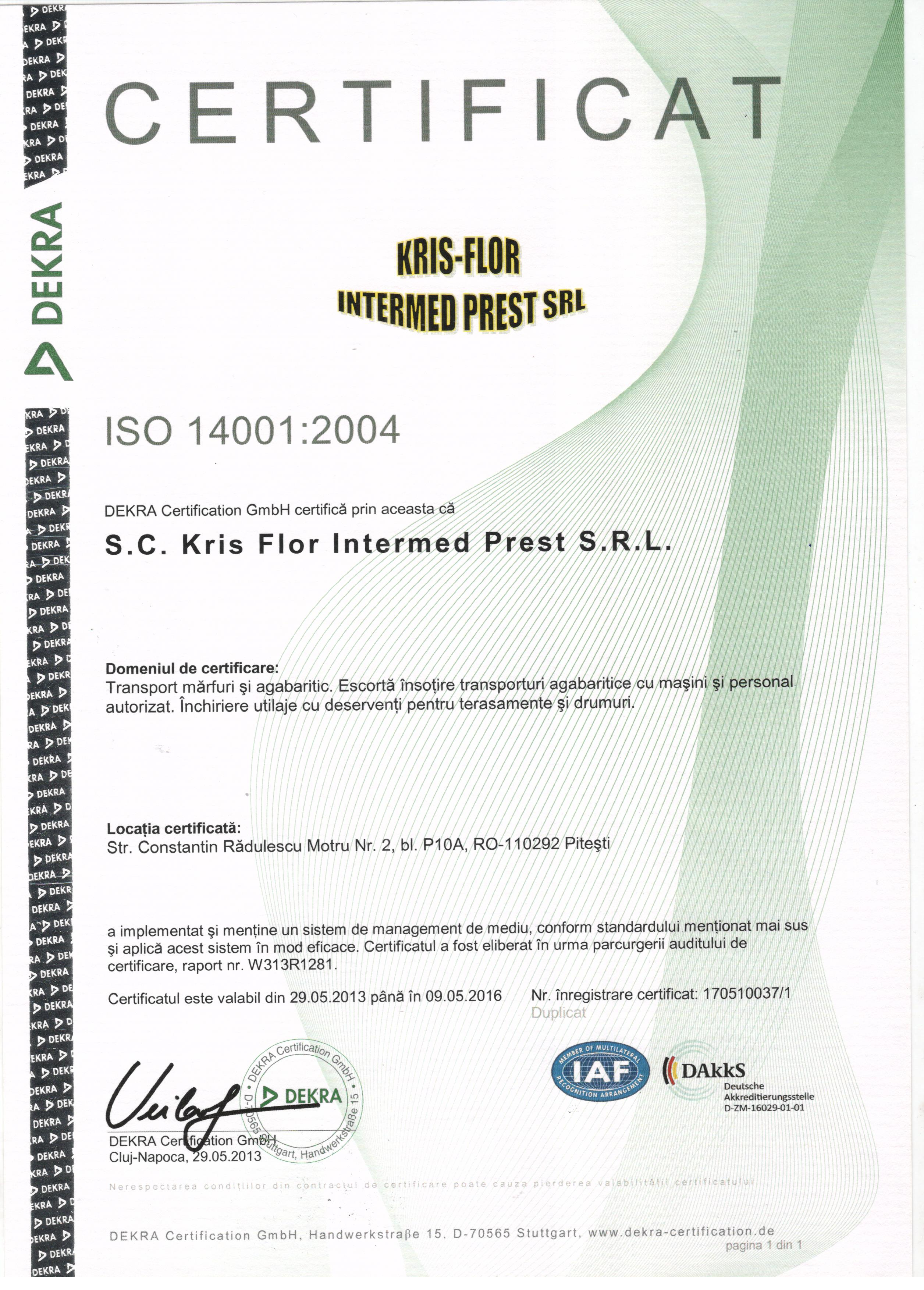 Certification kris flor intermed 14001 1betcityfo Image collections