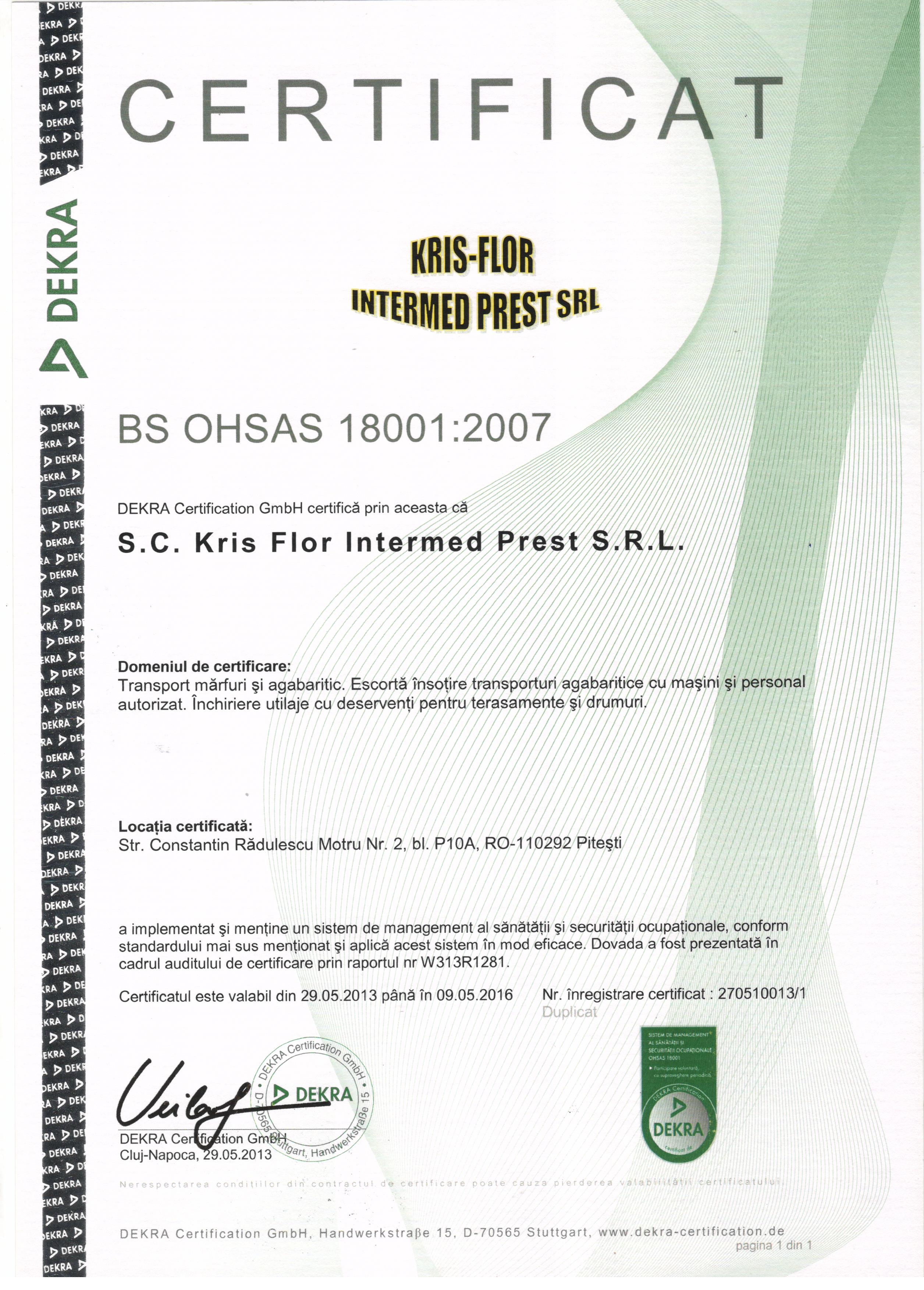 Certification kris flor intermed 18001 1betcityfo Image collections